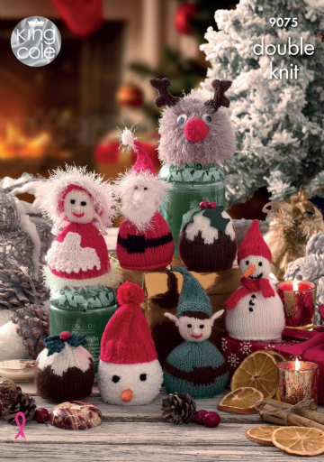 King Cole Knitting Pattern 9075, Christmas Candy Cosies, jar covers